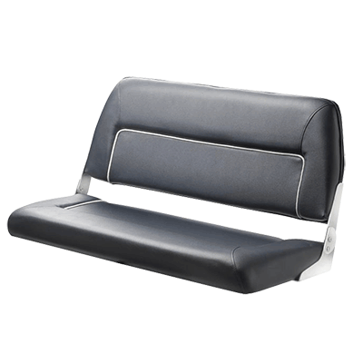 Vetus FIRST CLASS Deluxe Folding Bench Seat - Dark Blue - White Seams