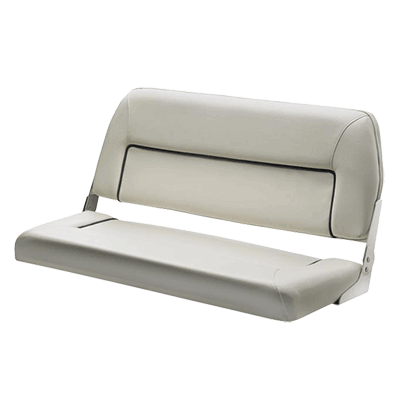 Vetus FIRST CLASS Deluxe Folding Bench Seat - White - Dark Blue Seams