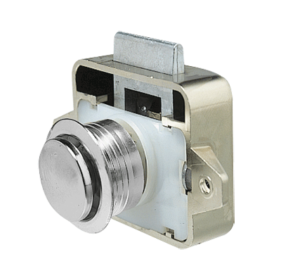 Plastic lock with chromium plated push-button