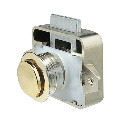 Plastic lock with brass plated push-button