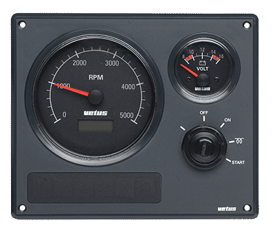 Engine Panel MP22 12v with Black Voltmeter & Tacho
