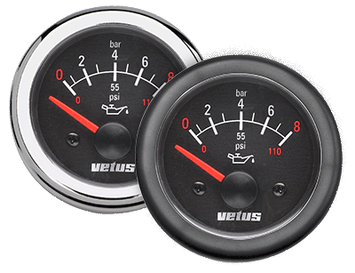 Vetus Oil pressure gauge black 12V (0-8 kg/cm2) cut-out