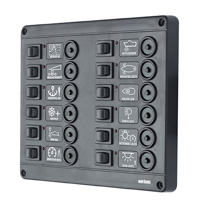 Switch panel type P12 with 12 circuit breakers 12V