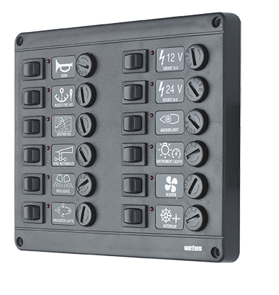 Switch panel type P12 with 12 fuses 12V