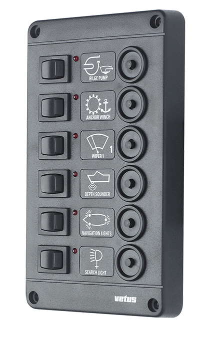 Switch panel type P 6 with 6 circuit breakers 12V
