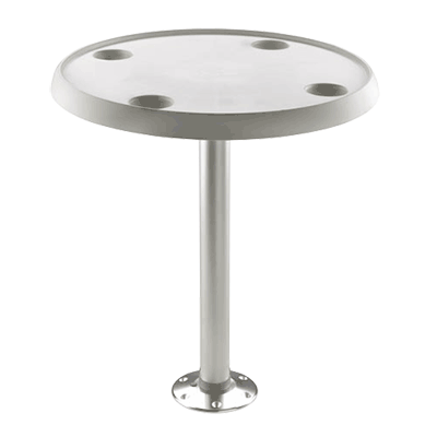 Vetus Round Table 60cm dia with Pedestal & Base Plate - Height 68cm