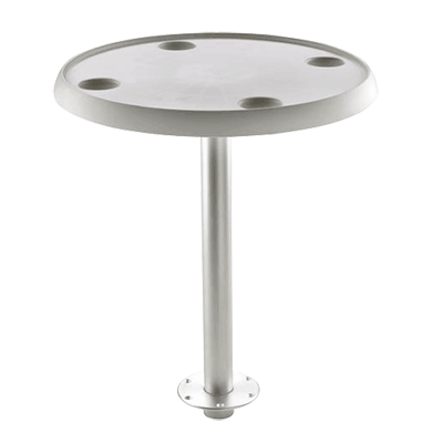 Vetus Round Table 60cm dia - Quick Remove Pedestal & Base Plate - 68cm