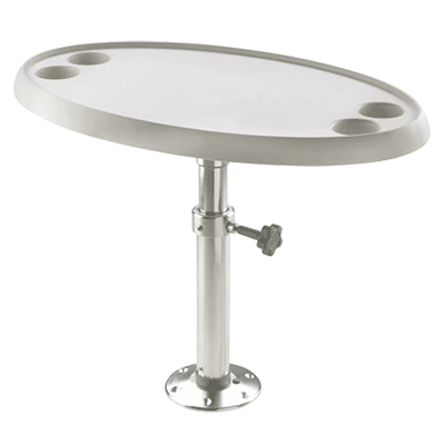 Vetus Oval Table 76x45cm with Pedestal & Base Plate - Height 50-70cm