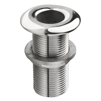 Vetus Polished Stainless Skin Fitting - Rounded Flange G3/8''
