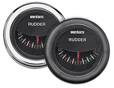 Rudder position Gauge black 12/24V cut-out Ø52mm