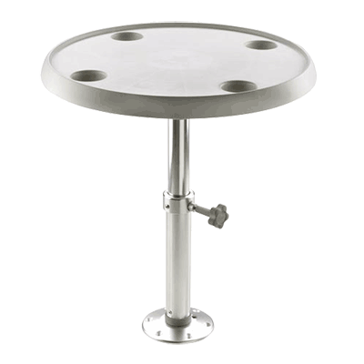 Vetus Round Table 60cm dia with Pedestal & Base Plate - Height 50-70cm